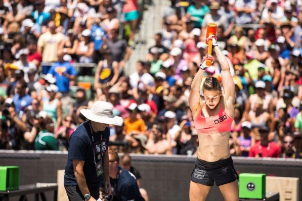 Julie Foucher competing in the Double Banger in the 2012 Reebok CrossFit Games